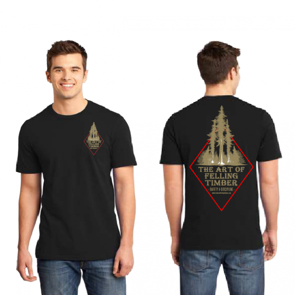 Black shirt with The Art of Felling Timber logo product